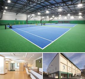トップインドアステージ多摩 テニスコートと施設イメージ