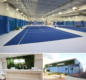 トップインドアステージ横浜コットンハーバー テニスコートと施設イメージ